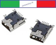 connettore a saldare mini USB femmina 4 fissaggi orizzontali 5pin 180° SMT