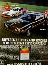 "1978 Don Prudhomme Plymouth Arrow Original Print Ad-8.5 x 10.5 "" Arrow GT"