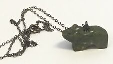 Vintage Green Stone Carved Bear Fetish Necklace Pendant on Sterling Silver Chain