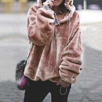 Womens Fluffy Faux Fur Sweater Hoodies Jumper Outwear Ladies Hooded Tops Outwear