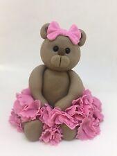 Edible Ballet Teddy Girl, Birthday, Christening, Baby Shower, Cake Topper