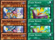 6-card set : 3 X Toon Dark Magician Girl + 3 X Toon World GLD4 set Set YUGIOH