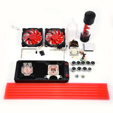Pro Water Cooling Kit 240mm Radiator CPU GPU Block Pump Reservoir 2x LED Fans GF