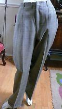 1950`s Gaberdine Wool Man`s Black White Highwaisted Plaid Cuffed trousers