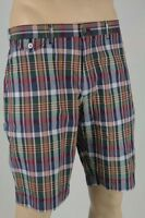 Ralph Lauren Navy Blue Burgundy Yellow Madras Plaid Shorts NWT 36