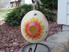 Hand Decorated Ostrich Egg Painted Birdhouse Sunflowers Gift Bumble Bees