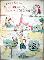 1952 FORMELLINO DI FAENZA BELLISSIMO DIPINTO GOLIARDICO GREST RAGAZZI FAENTINI