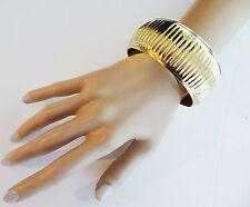 Gorgeous 3 cms Wide and Chunky RIDGED Gold Tone Bangle Bracelet Antique Finish