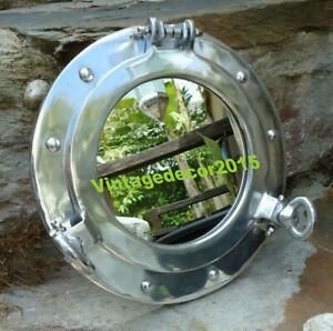 Aluminum silver  porthole mirror ship vintage nautical home decor