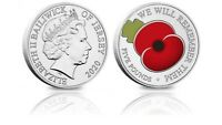 2020 POPPY £5 Five Pound Colour Coin - Bailiwick of Jersey BU