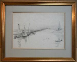 Rye Harbour Lighthouse, East Sussex. Original pencil drawing, circa 1870