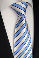 Handgefertigte Luxus Seiden Krawatte, Hellblau, Weiß und Schwarze, K 166.2