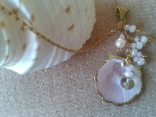 "Soft pinks, white, gold & crystal ""Sea Foam"""" shell pendant ""Handmade by Helen"""