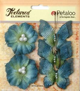 Burlap DENIM BLUE 3 Butterflies 4x4.5cm & 2 Blossoms 4cm Across Petaloo 1203*BUR
