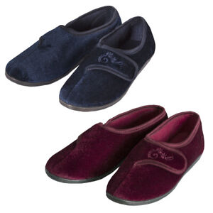 ** Ladies Womens Velour House Slippers Touch Fastening Luxury Rip Tape Fit Plain