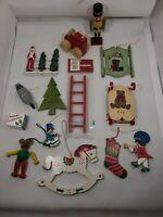 Wood VTG Small/Mini Christmas Ornaments Hand Painted Lot of 14 Taiwan & China