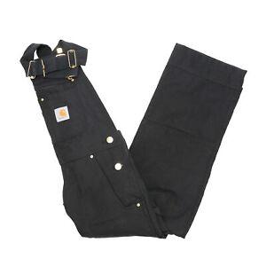 NEW Carhartt 102776 Men's Relaxed Fit Duck Bib Overalls in Black - 28 x 32