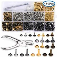 480 X DIY Leather Crafts Rivets Double Cap Metal Studs Installation-Tool Kit