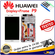 TOUCH SCREEN VETRO e LCD DISPLAY + FRAME Per Huawei P9 EVA-L09 EVA-L29 BIANCO