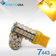 2x 7443/7441 3528 68-SMD 247LM Amber Yellow Turn Signal Parking LED Light Bulbs