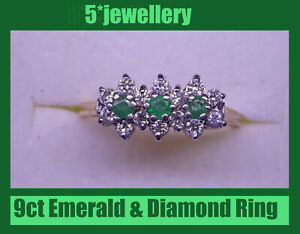 new 9ct yellow white gold emerald diamond triple daisy ring dress engagement