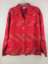 Chicos Jacket Size 1 Red Silk Coat