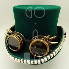 Steampunk Goggles Wool Felt Men Topper Top Hat Victorian | Green | XS M L XL | C