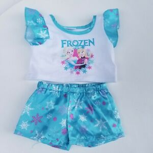 Disney Frozen Anna & Elsa Build-A-Bear BAB shirt pant set blue snowflakes outfit