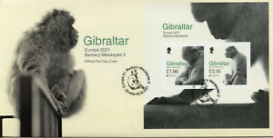 Gibraltar Europa Stamps 2021 FDC Barbary Macaques Endangered Ntl Wildlife 2v M/S