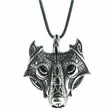 NEW Silver Plated Wolf Head Pendant Ladies Mens Antique Native Viking Necklace