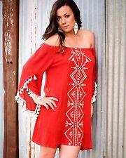 Kori America Embroidered Tassel Off Shoulder Festival Aztec Tribal Dress S