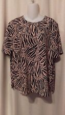 Kathy Che Short Sleeve Top Brown Animal Print M