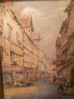 Aquarelle de gruyer brielman XIX Lisieux rue aux fevres .Watercolor Normandie.