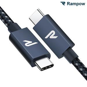 RAMPOW 2m USB C zu Typ C Kabel PD 100 W Schnell auf Ladekabel für Samsung Apple