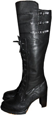 Stuart Weitzman BOOTS Soldier Over Knee Black Lace-up Military BOOTIES 8.5