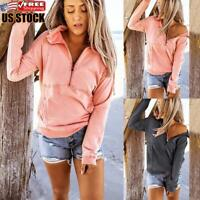 Women's Solid Long Sleeve Jumper Ladies Casual Front Zip Sweater Pullover Tops