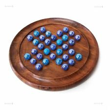 Solitaire Board Game Blue Marbles Sheesham Wood Wooden Traditional 23cm Two Tone