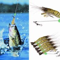Luminous Shrimp Fishing Simulation Soft Prawn Lure Bait Tackle Hooks Fish X5I5