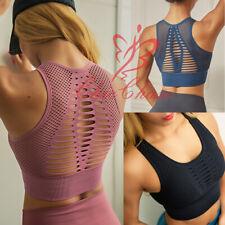 Womens Seamless Sports Bra Eyelet Top Gym Running Sport Yoga Training Fitness