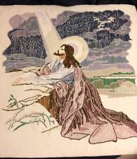 "Vintage Completed Embroidery Jesus Garden Of Gethsemane Needlework 22"" 1978"