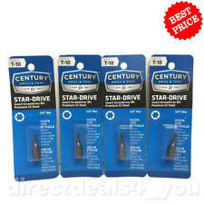 (New) CENTURY DRILL & TOOL #68410 T-10 Star-Drive  Screwdriver Bits Pack of 4
