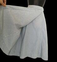 Monsoon skirt size 16 faux wrap blue white stripes  pockets midi crisp cotton VG