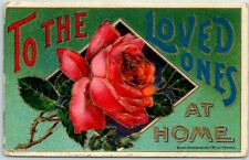 "1910s Large Letter Greetings Postcard ""TO THE LOVED ONES AT HOME"" Pink Rose"