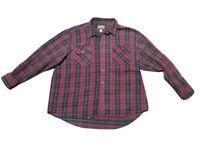 Cabela's Heavy Flannel Cotton Logger Shirt Men 3XL Reg Burgundy Black Plaid VGUC
