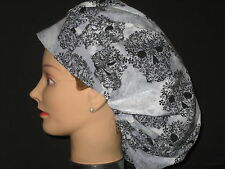 Surgical Scrub Hats/Caps Sugar Skulls Black and Silver