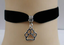 Velvet Day Collar Choker with Paw Print, Kitty Kitten Cat, Dog, Pet, Cosplay,