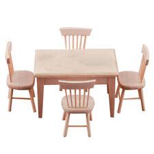 1/12 Puppenstube Esszimmermöbel - Miniatur Esstisch und 4 Stühlen Set