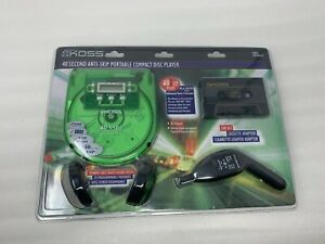 KOSS CDP1689LCP SEALED GREEN CLEAR TECH SEE THROUGH Portable CD Player Headphone