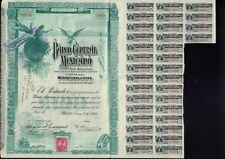 "MEXICO : BANCO CENTRAL MEXICANO ""BLUEBERRY"" 1908  uncancelled dividend  coupons"