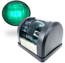Marine Boat LED Navigation Light Green Starboard Surface Mount 12V Black